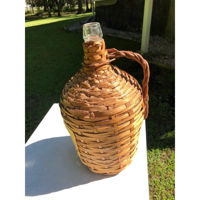 Vintage Wine Bottle in Handled Wicker Basket With Label For Sale - Image 4 of 7
