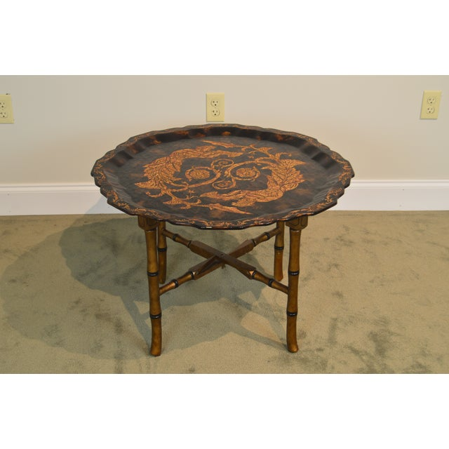 Black & Gold Crackle Painted Finish Pie Crust Tray Top Faux Bamboo Coffee Table For Sale In Philadelphia - Image 6 of 13