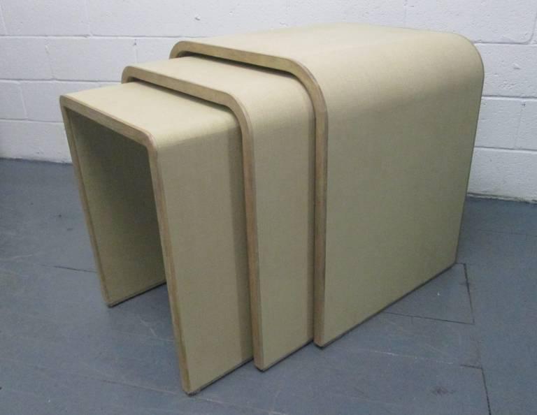 Linen Wrapped Nesting Tables Manner Of Karl Springer. Tables Have A Cerused  Oak Frame.