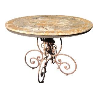 Italian Granite and Wrought Iron Patio Table