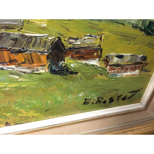 1960s Village Mountain Scene Oil Painting Signed E Rosset For Sale - Image 5 of 10