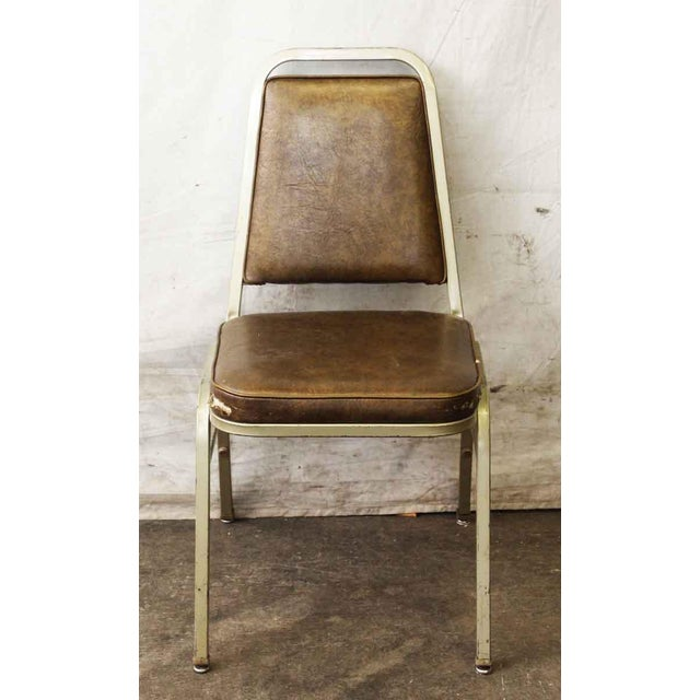 Salvaged Metal Vinyl Auditorium Office Chair - Image 3 of 10