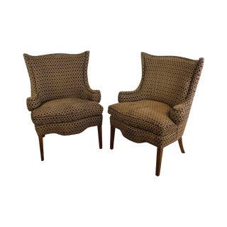 TRS Furniture Custom Upholstered Pair Regency Style Wing Chairs For Sale