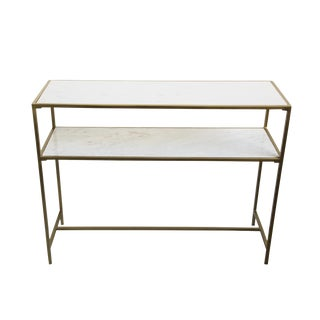 White Marble & Brass Console Table