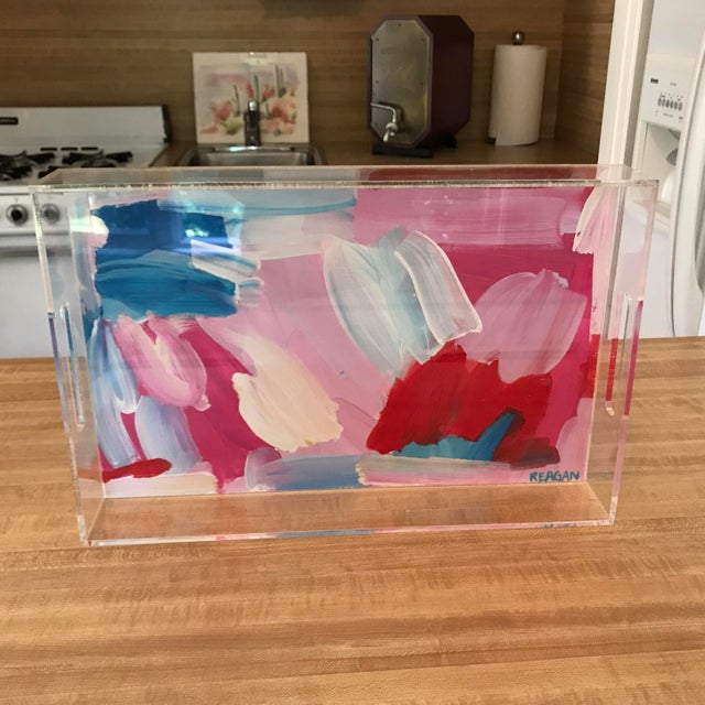 Pink and Blue Painted Chinoiserie Acrylic Tray For Sale - Image 9 of 11