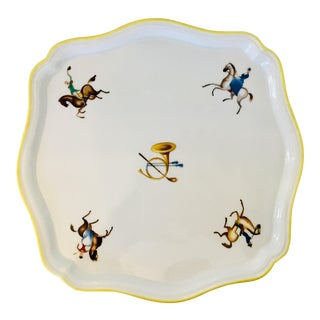 Gio Ponti for Richard Ginori Equestrian Theme Porcelain Tray For Sale