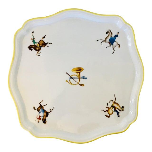 Gio Ponti for Richard Ginori Equestrian Theme Porcelain Tray For Sale