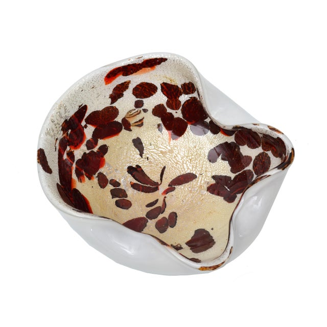 Italian Murano Glass Bowl with Gold Flecks - Image 4 of 5