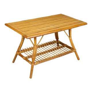 Mid Century French Riviera Bamboo and Rattan Coffee Table For Sale