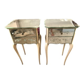 1930's Art Deco Mirrored Night Tables - a Pair For Sale