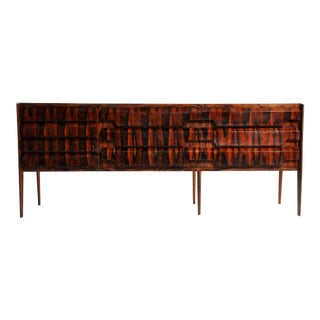 Italian 10 Drawer Sideboard With Black Glass Top For Sale