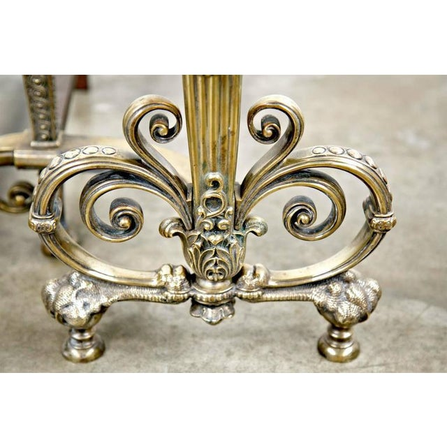 Fine Pair of Brass and Wrought Iron Andirons Attributed to Tiffany Studios For Sale - Image 10 of 10