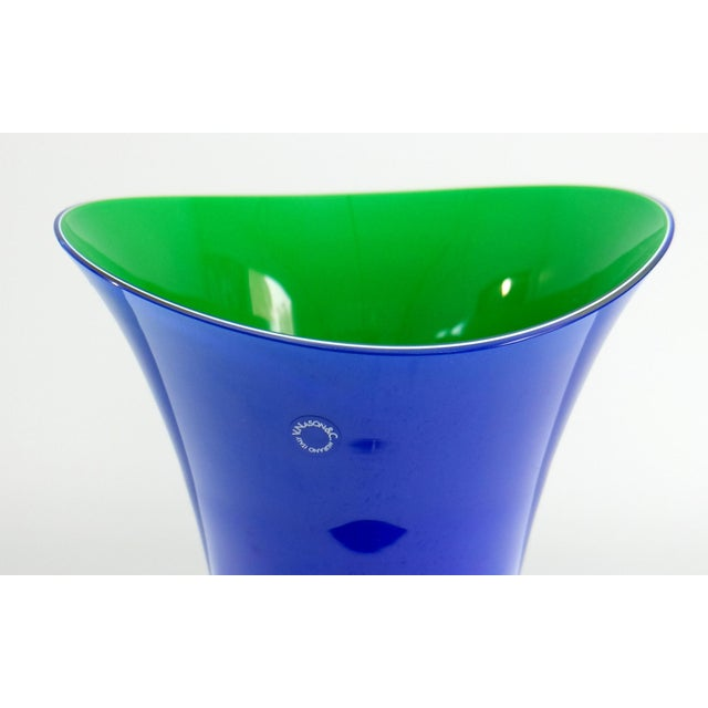 Murano Glass Vase Set by V. Nason & C. Italy, Blue and Green Asymmetric Vases Offered for sale is a striking pair of hand-...