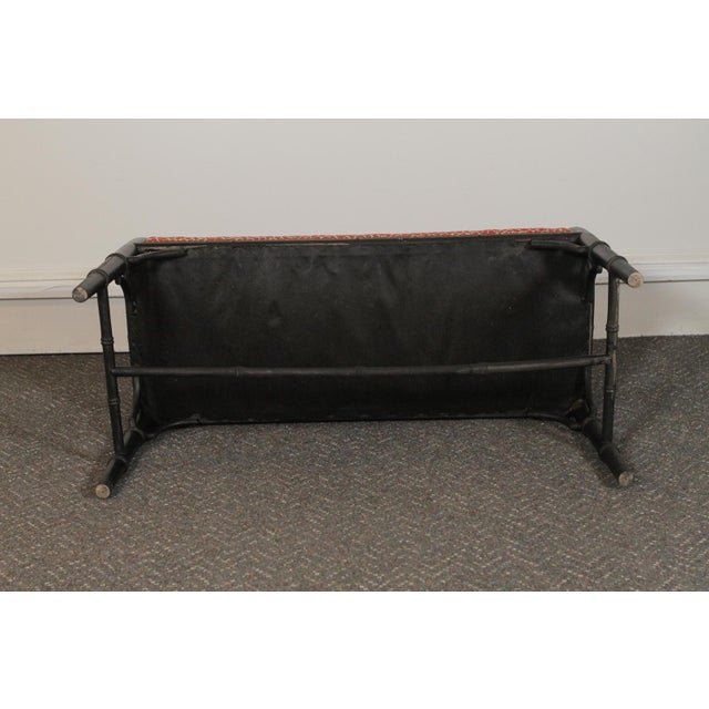 1970s Faux Bamboo Wood Upholstered Bench For Sale - Image 5 of 11