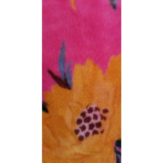 5 Yards Pink Bird Floral Chinoiseri Cotton Velvet Upholstery Fabric For Sale In Los Angeles - Image 6 of 7