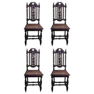 19th C. Renaissance Style Carved Oak Dining Chairs - Set of 4 For Sale