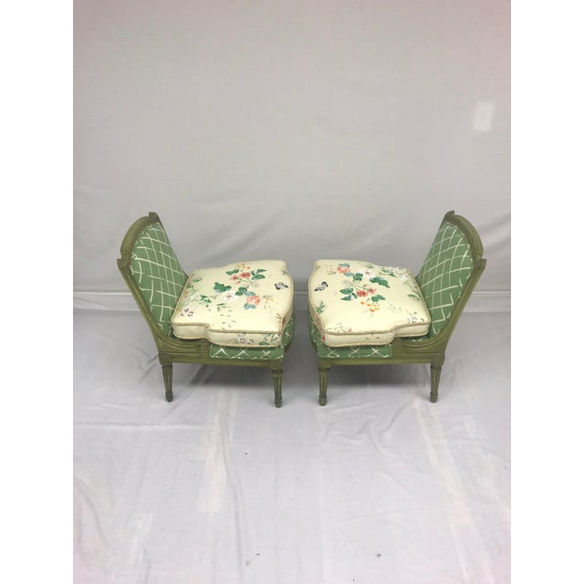 French Style Green-Painted Slipper Chairs - A Pair For Sale - Image 4 of 13