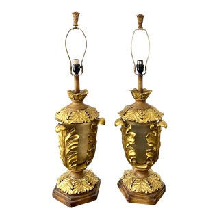Hollywood Regency Gilt Acanthus Leaf Lamps - a Pair For Sale
