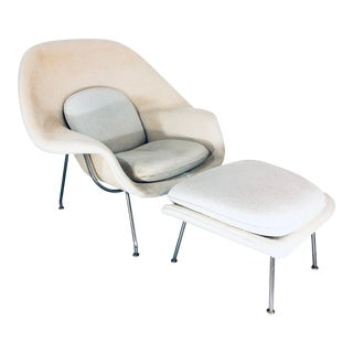 """1960s Vintage Eero Saarinen for Knoll """"Womb"""" Lounge Chair and Ottoman For Sale"""