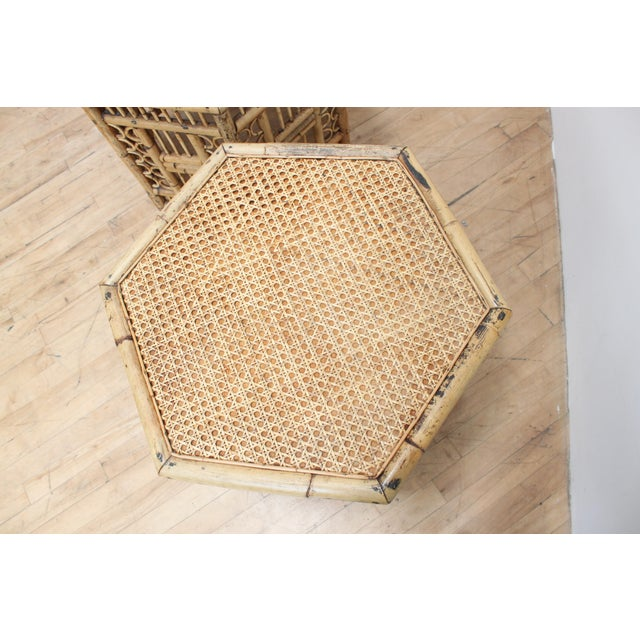 Tan Chinese Chippendale Hexagonal Side Tables- Brighton Pavilion Pair For Sale - Image 8 of 10