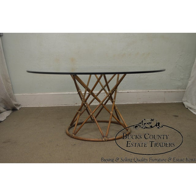 """Glass McGuire of San Francisco 60"""" Round Glass Top Rattan Bamboo Base Dining Table For Sale - Image 7 of 12"""