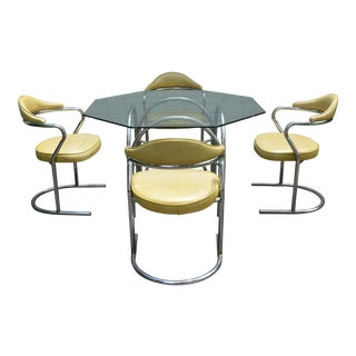 1970s Mid-Century Modern Chrome Dining Set - 5 Pieces For Sale