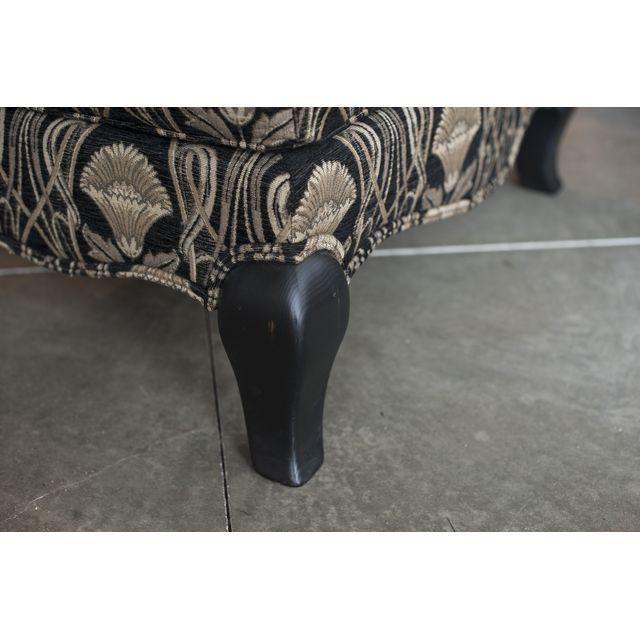 Custom Pearson Black Cream Floral Chair & Ottoman - Image 6 of 7