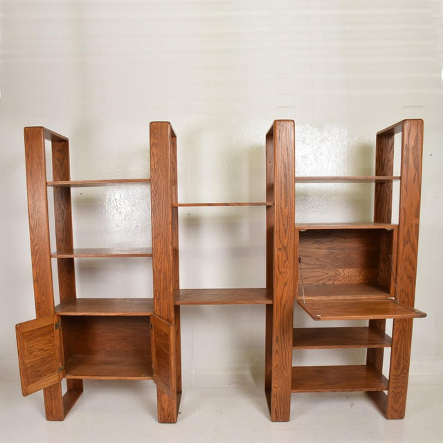 Mid-Century Modern Mid Century Modern Solid Oak Wood Wall Unit by Lou Hodges For Sale - Image 3 of 11