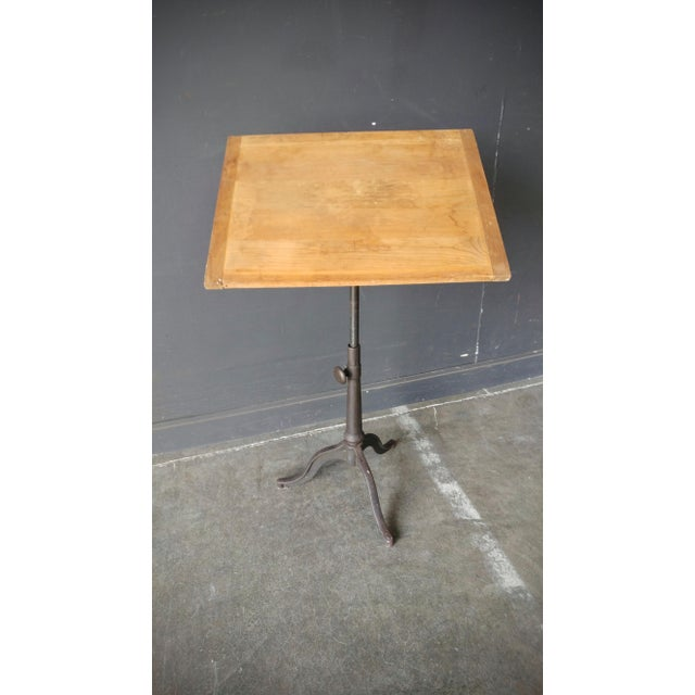 Industrial Industrial Drafting Table With Cast Iron Base For Sale - Image 3 of 13
