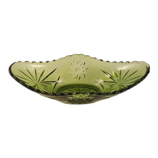 Anchor Hocking Glass Prescut Green Boat Dish For Sale