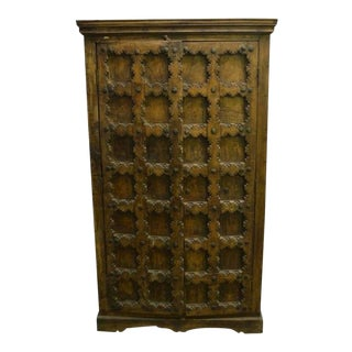 Indian Cabinet or Armoire, With Hand-Carved Doors From 20th Century For Sale