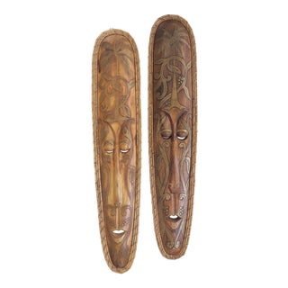 Vintage Large Scale Tribal Wall Masks - a Pair For Sale