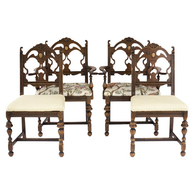 Vintage Wooden Dining Room Chairs - Set of 4 - Image 1 of 11