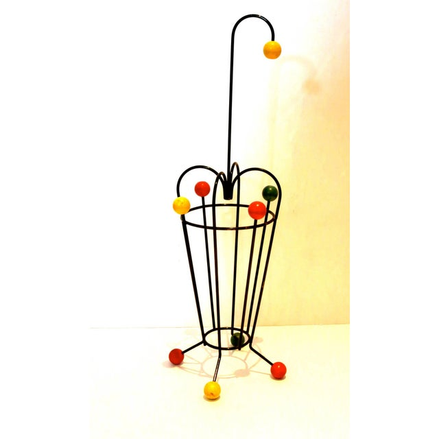French 1950s Atomic Age French Mid-Century Iron and Wood Umbrella Stand For Sale - Image 3 of 4
