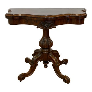 19th Century Hand Carved Rosewood Console / Games Table C.1880 For Sale