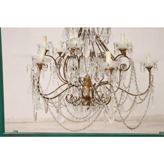 20th Century Louis XVI Style Gilded Bronze and Crystals Large Luxury Chandelier For Sale - Image 9 of 11