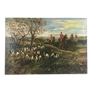 Early 20th Century Antique English Oil on Canvas Fox Hunt Painting For Sale