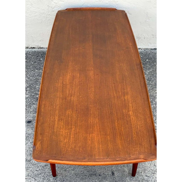 Coffee Ib-Kofod Larsen, Two-Tier Teak Surfboard Coffee Table With Caned Shelf For Sale - Image 8 of 10