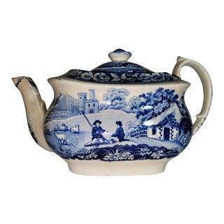 Blue and White Transfer, Ironstone Tea Pot, William Davenport, Staffordshire England 19th C. For Sale