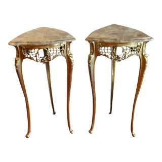 Pair of Small Louis XV Style Gilded Bronze Base, Lace Design Apron With Birds and Triangle Marble Tops. For Sale