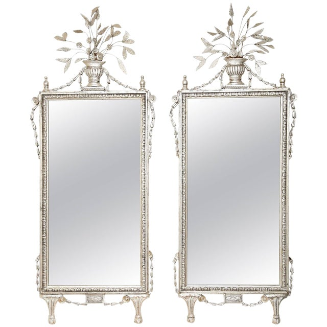 1920s Silver Leafed Italianate Mirrors - a Pair For Sale