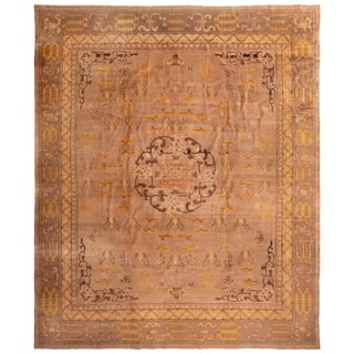 Antique Indochinese Eggplant and Gold Wool Rug with Butterflies For Sale