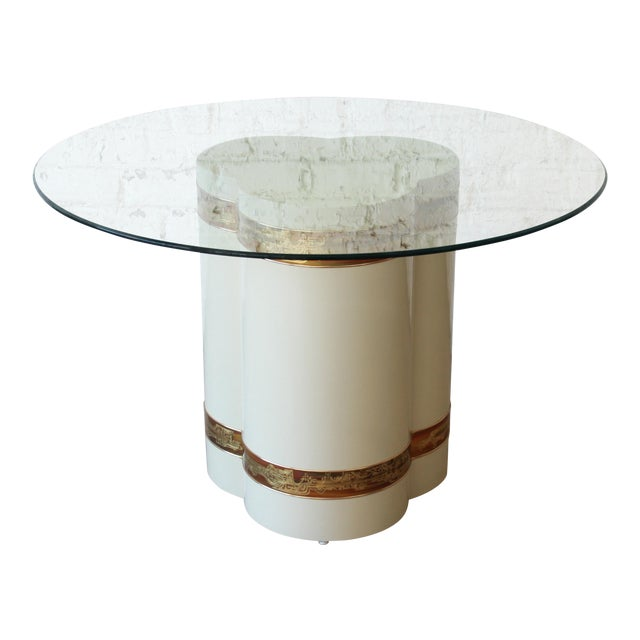 Bernhard Rohne for Mastercraft Acid Etched Brass Cream Lacquered Pedestal Dining Table For Sale