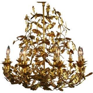 Large Italian Chandelier With Golden Leaves New For Sale