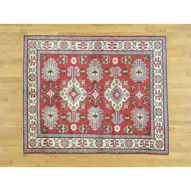 Hand-Knotted Pure Wool Geometric Design Red Kazak Rug- 5′ × 6′3″ For Sale - Image 12 of 12