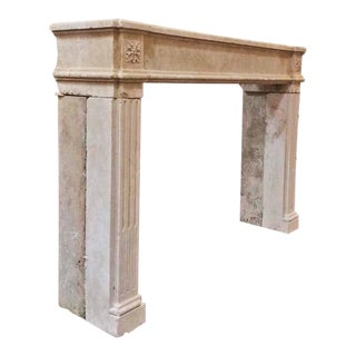 Mid 18th Century French Louis XVI Limestone Mantle