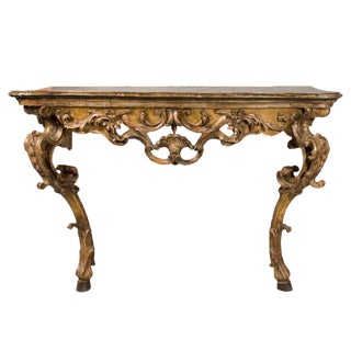 Mid 18th Century Italian Rococo Painted & Gilded Console For Sale