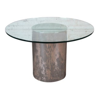 Brueton Mid-Century Modern Polished Steel and Glass Round Pedestal Dining Table, Circa 1970s For Sale