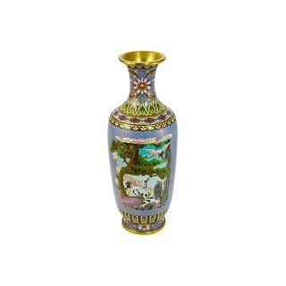 "12"" Tall Blue Crane Cloisonne Vase For Sale"