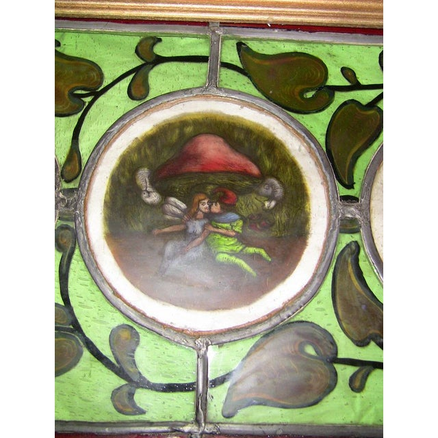 Glass Irish Stained and Hand Painted Glass Panel of Fairy and Leprechaun - Unique For Sale - Image 7 of 11